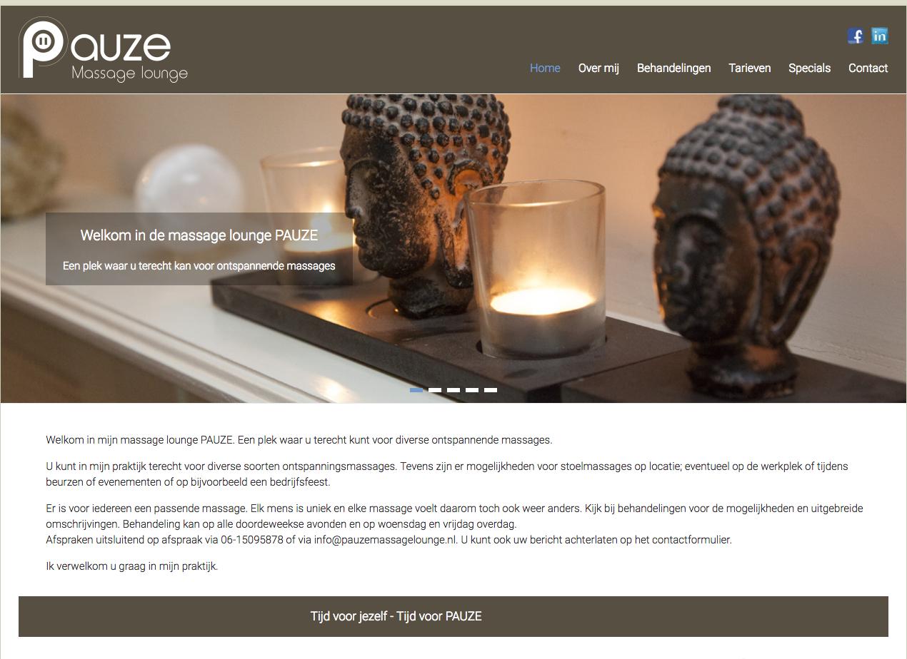 WebMagix portfolio Pauze Massage Lounge